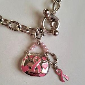 Silver Breast Cancer Awareness Toggle Bracelet